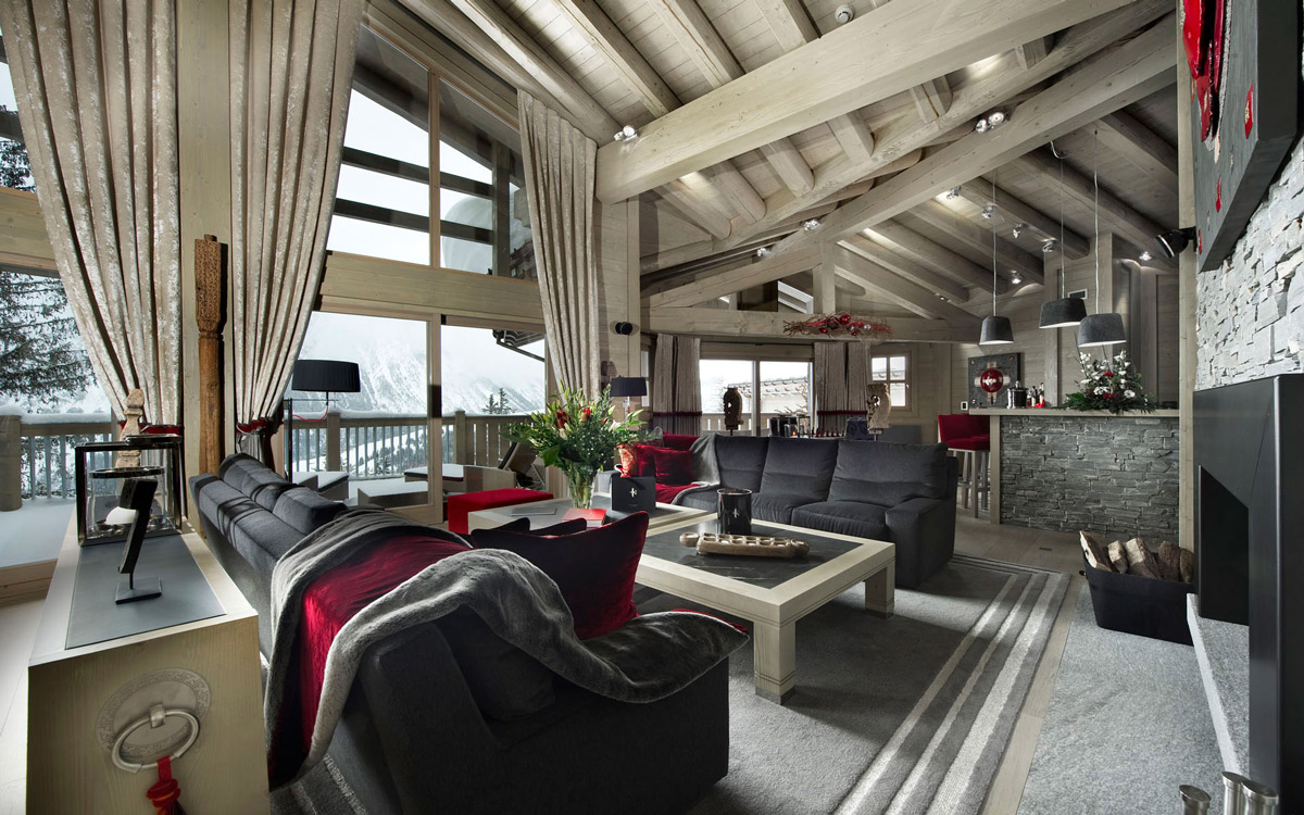 Sofas, Coffee Table, Wood Beams, Fireplace, Ski Chalet in Courchevel 1850, France