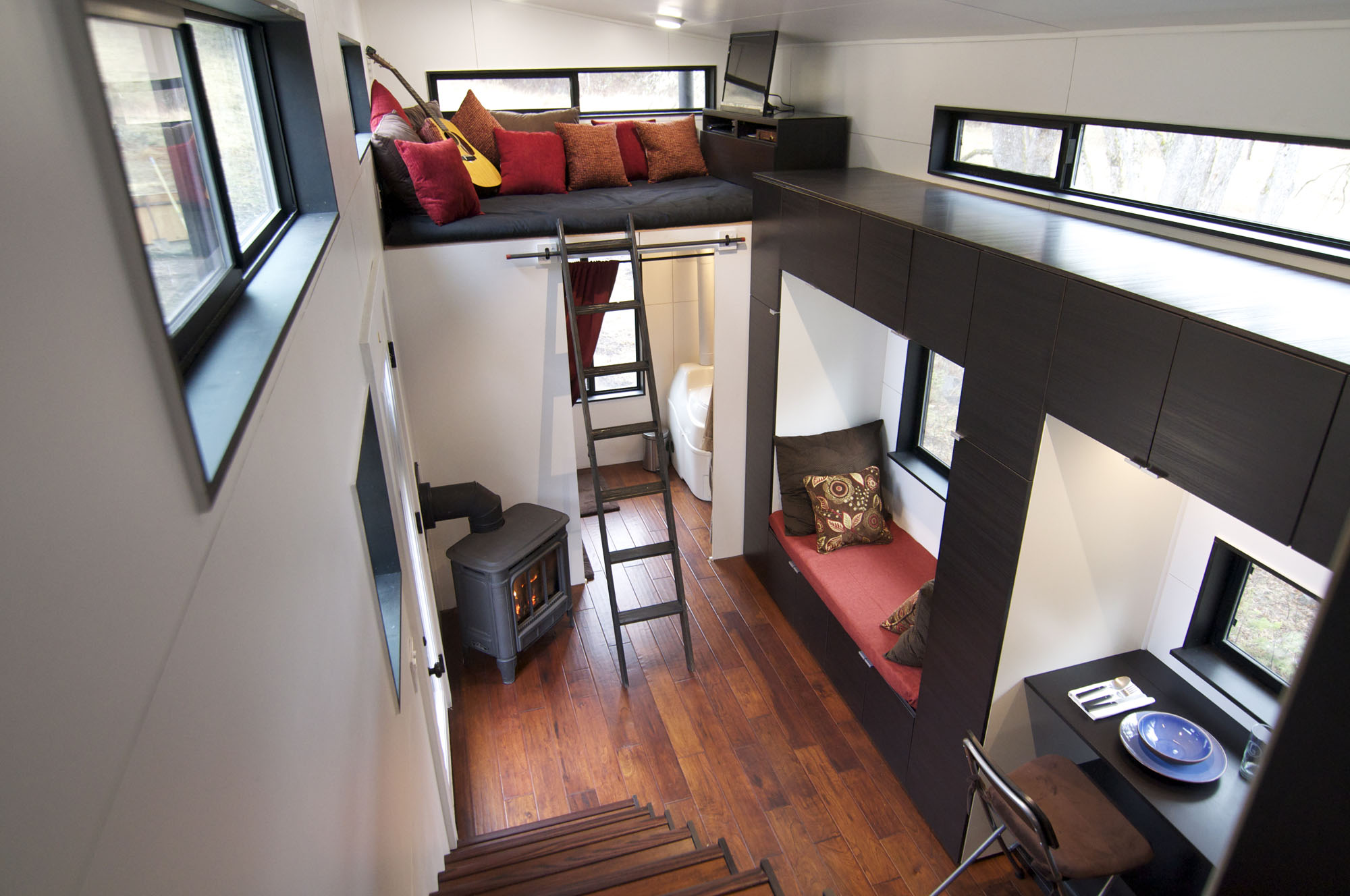 Stairs, Living & Dining Areas, Tiny House on Wheels