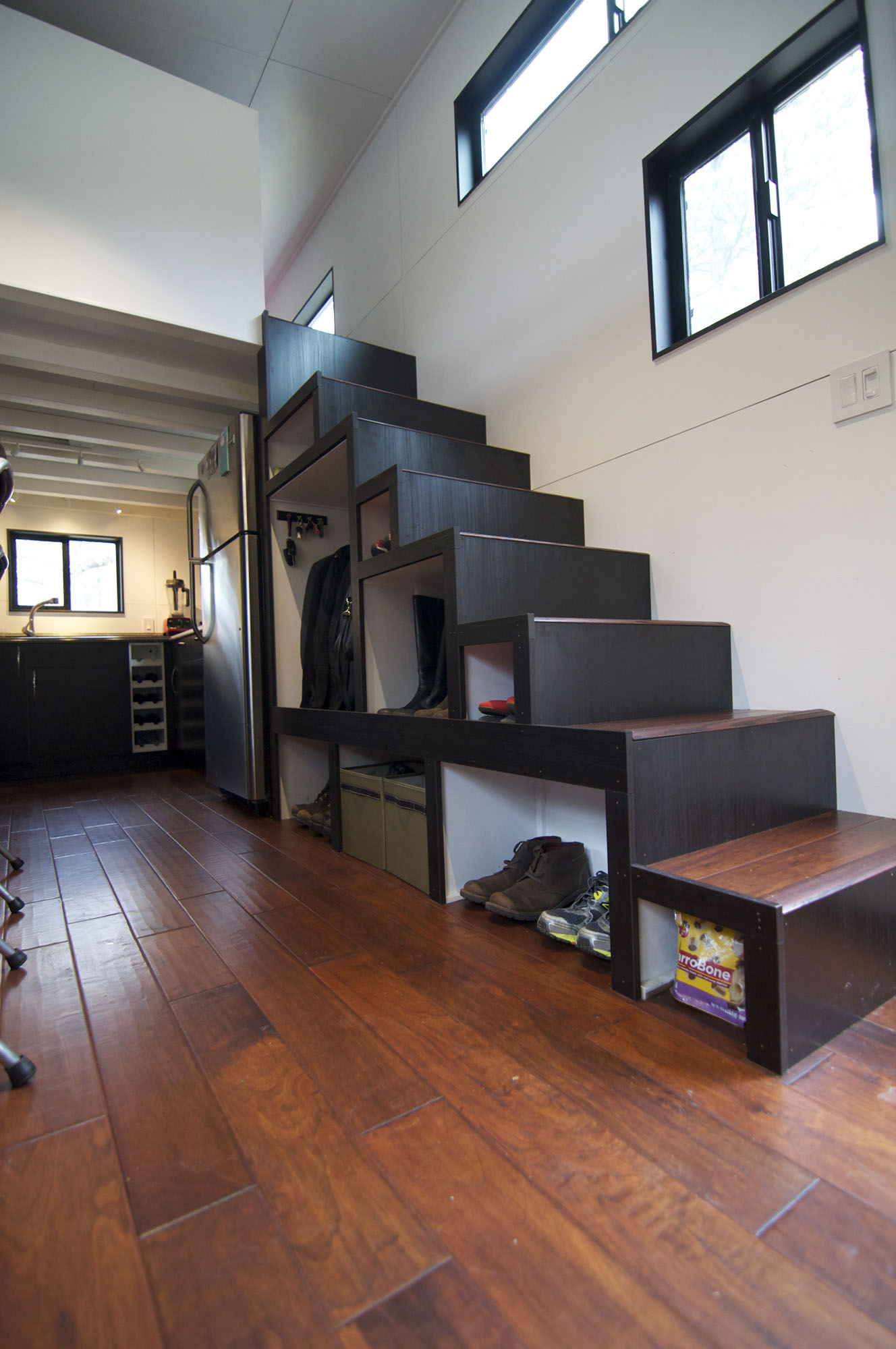 stairs  storage space tiny house  wheels
