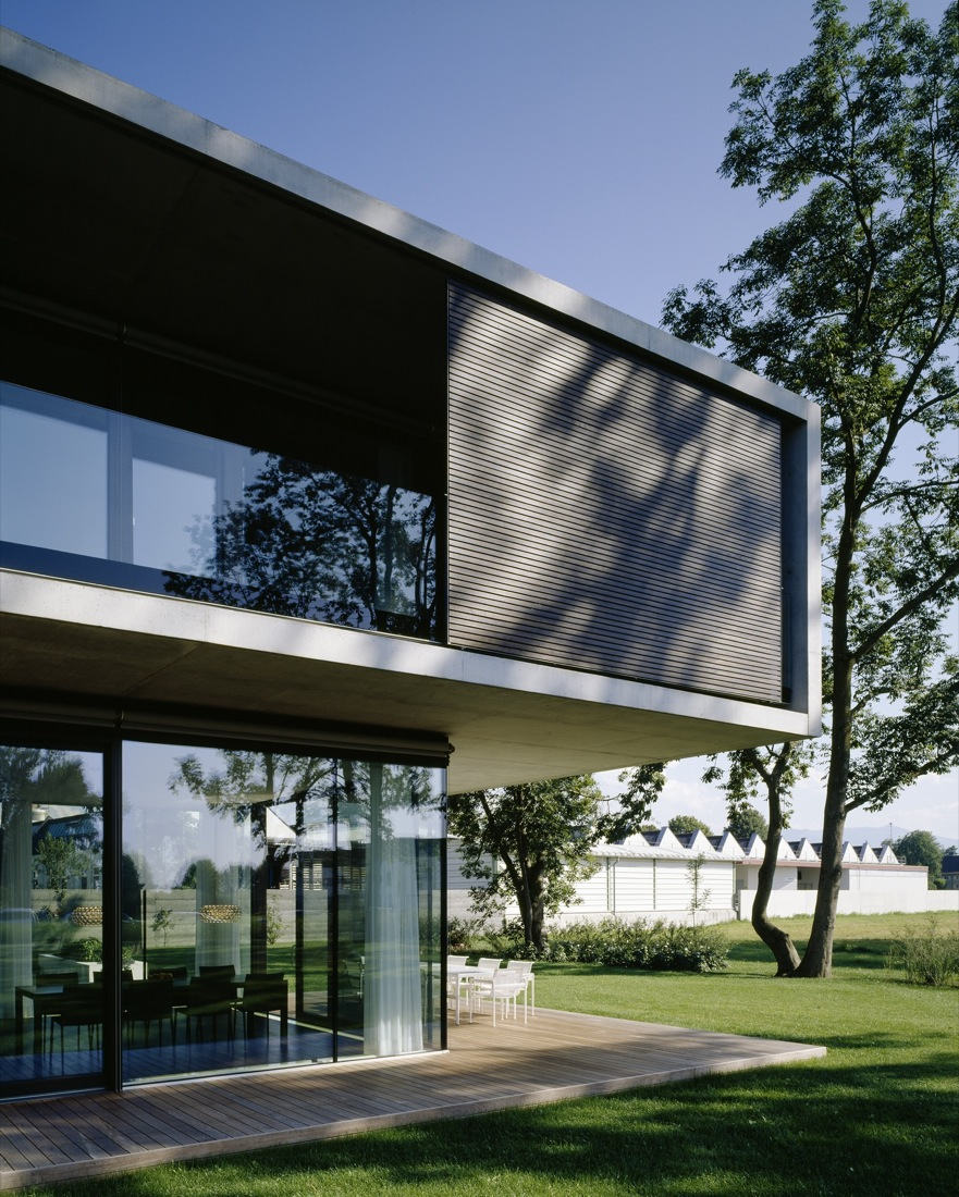 Terrace, Decking, Cantilevered House in the Town of Hard, Austria