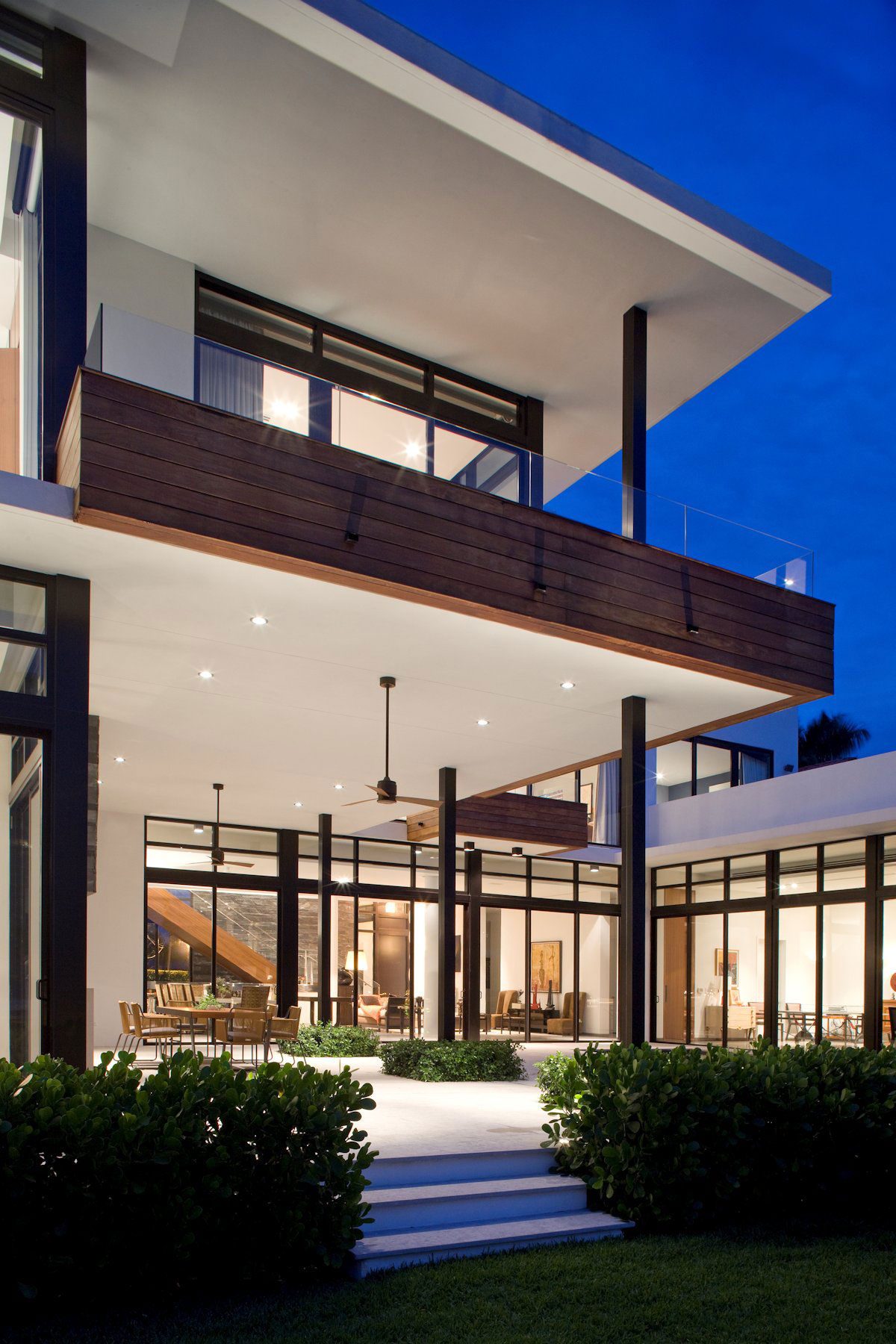 Terrace, Evening, Lighting, Modern Home in Golden Beach, Florida