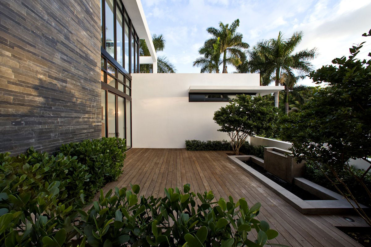 Water Feature, Wood Deck, Modern Home in Golden Beach, Florida