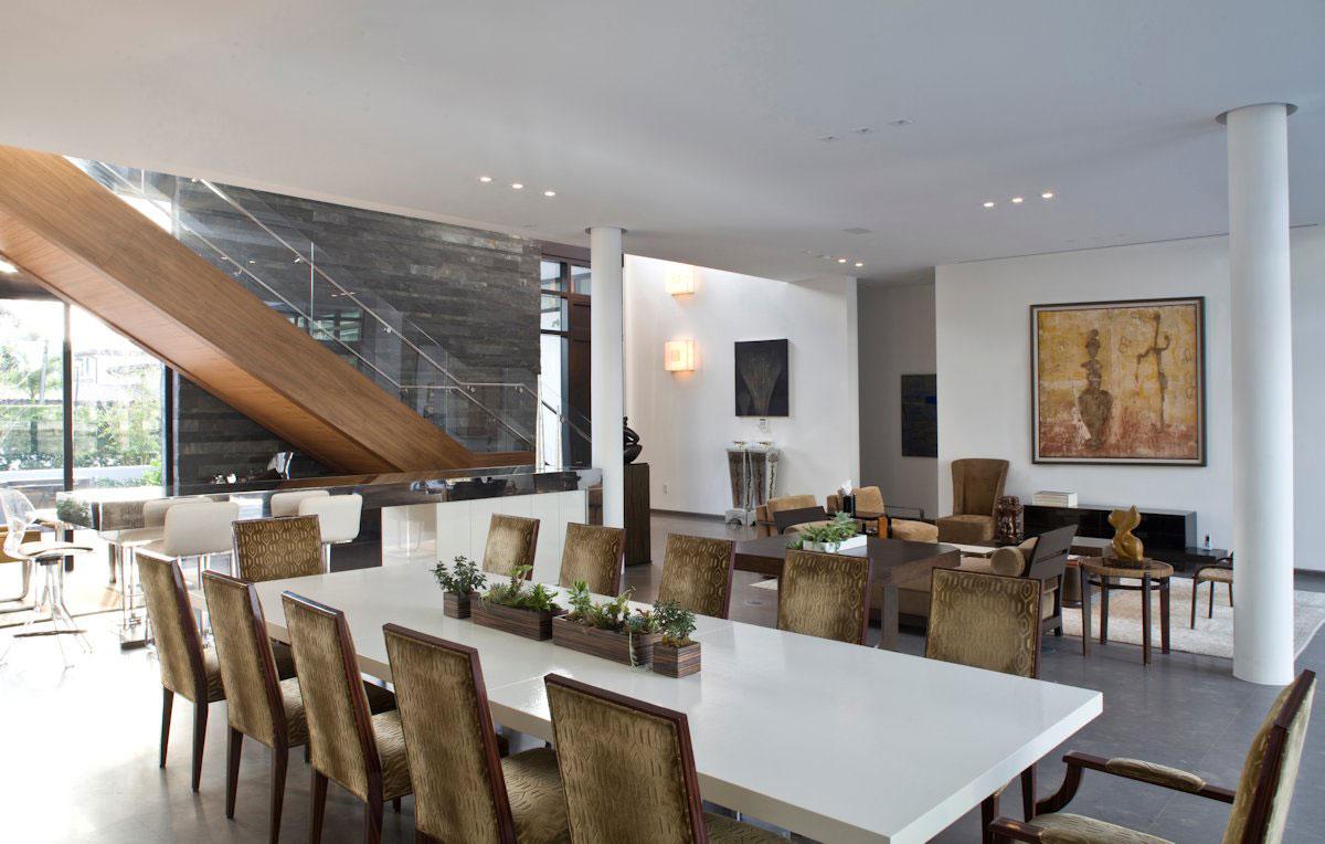 White Dining Table, Open Plan Living, Modern Home in Golden Beach, Florida