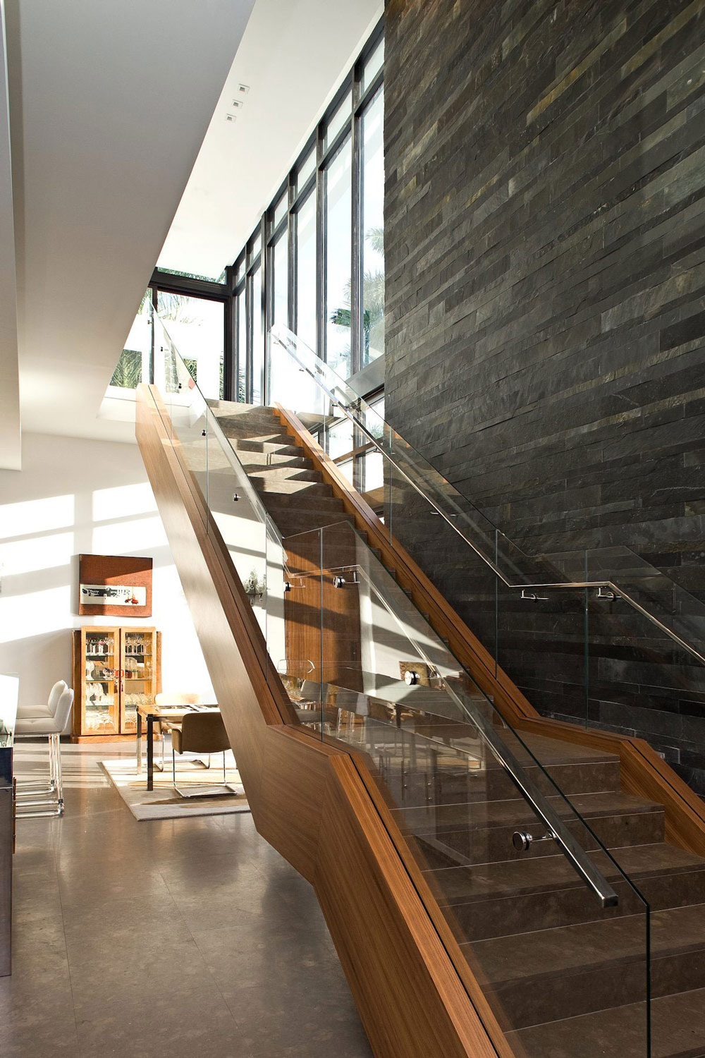 Wood, Glass Stairs, Slate Wall, Modern Home in Golden Beach, Florida