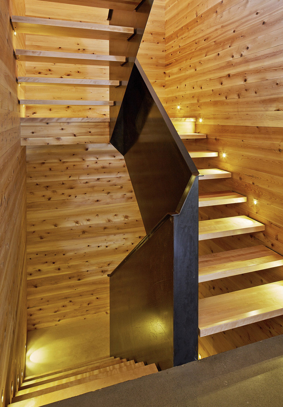Wood Stairs, Lighting, Malbaie VIII Residence in Charlevoix