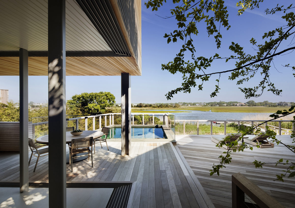Wood Deck, Terrace, Pool, Water Views, Bay House in Westhampton Beach, New York