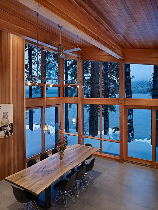 Wooden Dining Table, Lighting, Floor-to-Ceiling Windows, Mountain Home Lake Wenatchee, Washington