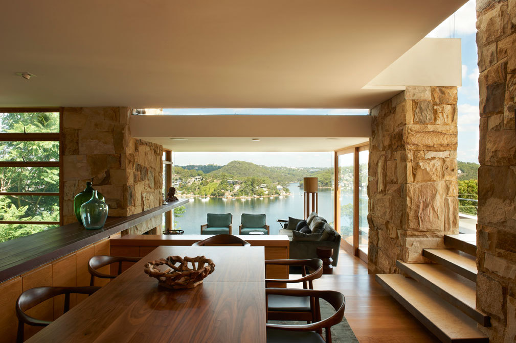 Wooden Dining Table, Bay Views, Family Home, Sydney's Middle Harbour