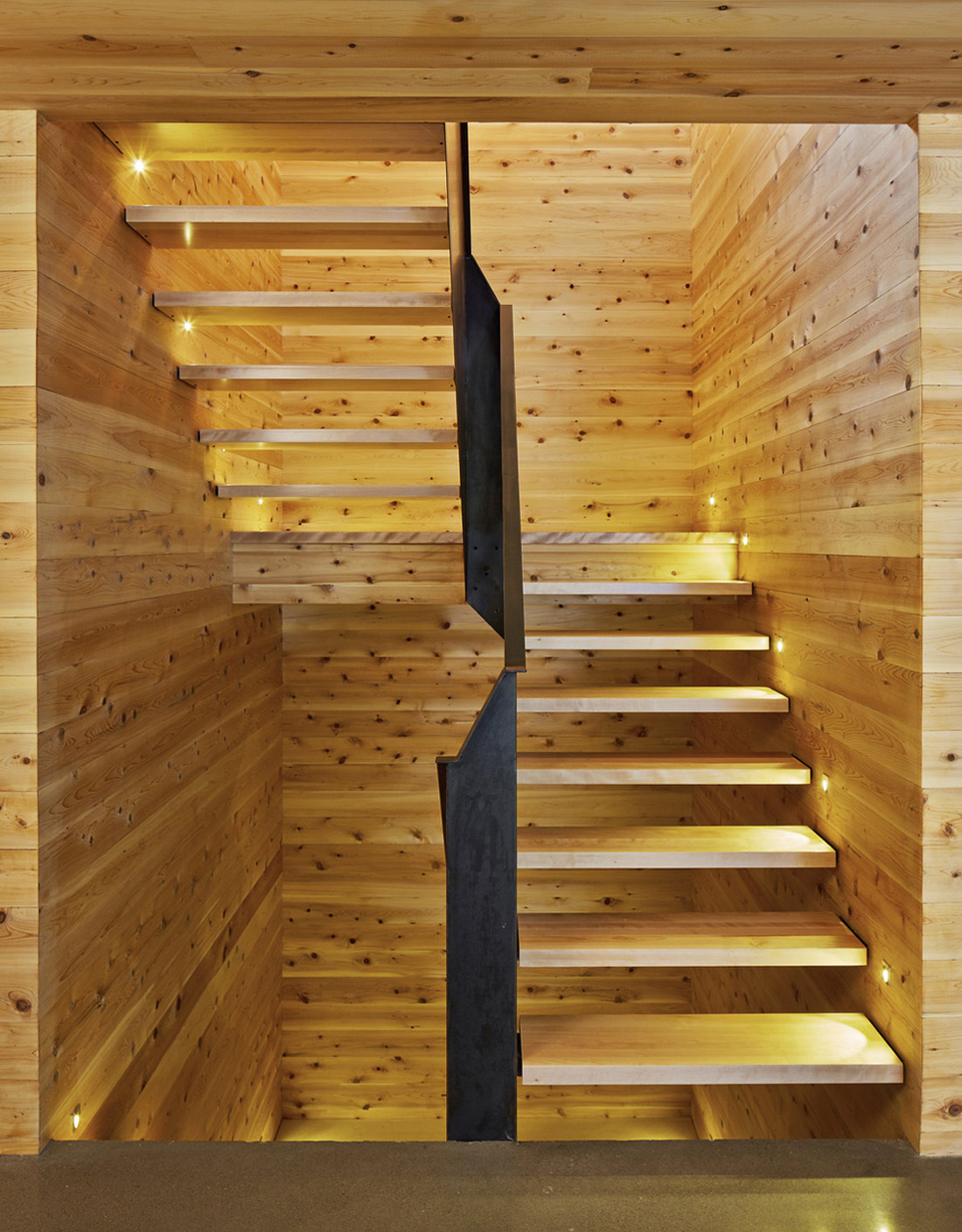 Wooden Staircase, Malbaie VIII Residence in Charlevoix
