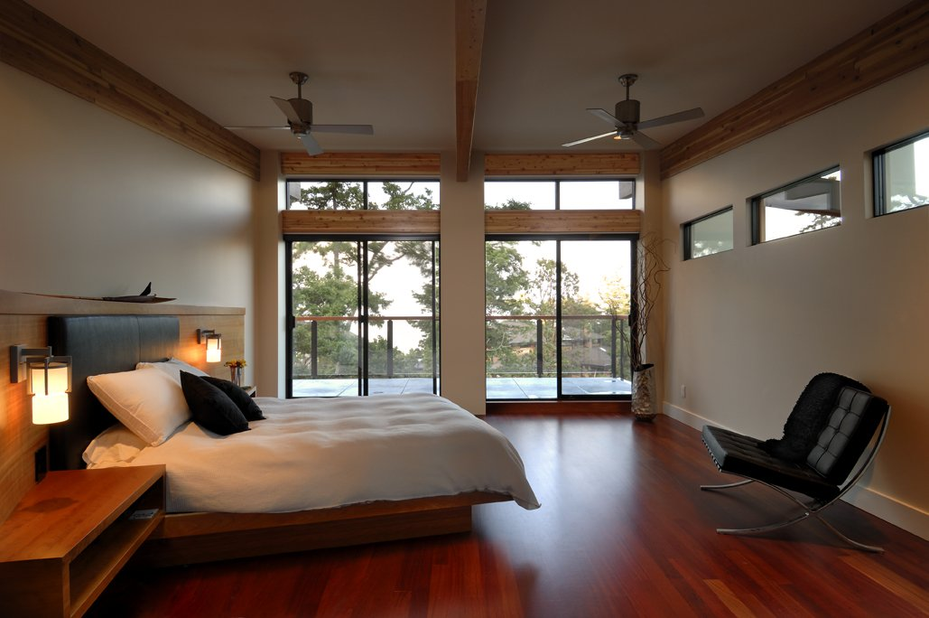 Bedroom, Balcony, Modern Home in Victoria, British Columbia