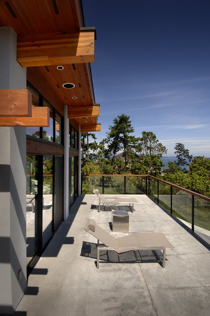 Balcony, Glass Balustrading, Modern Home in Victoria, British Columbia
