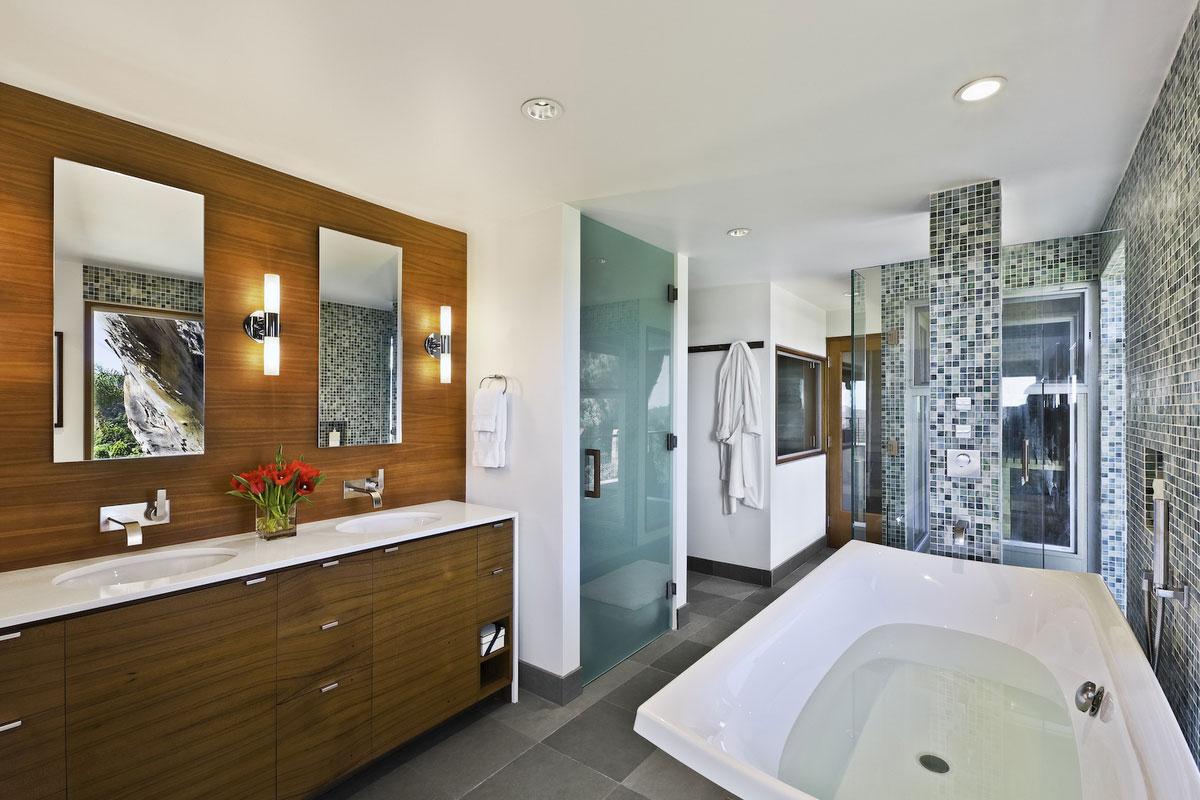 Bath, Sinks, Shower, Mid-Century Modern Home in Santa Barbara, California