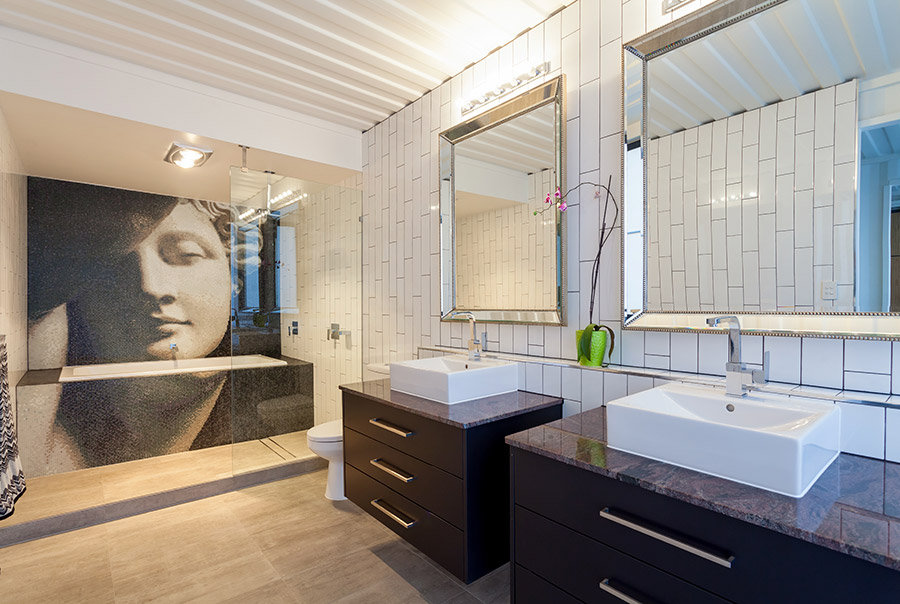 Bathroom, Double Sinks, Shipping Container Home in ...