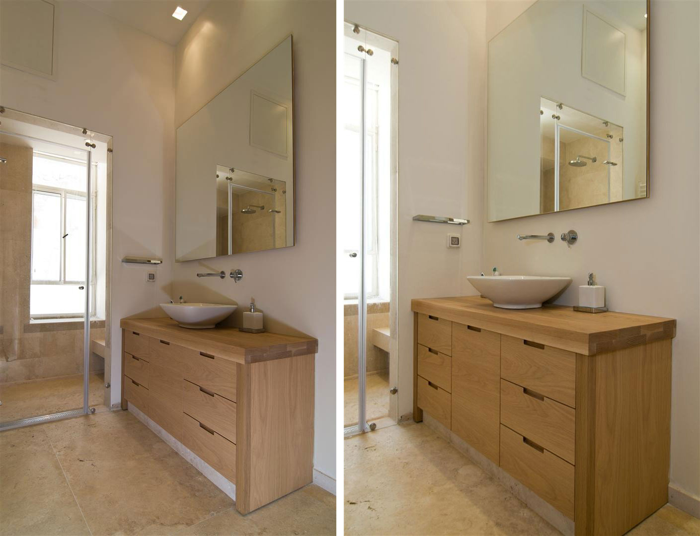 Bathroom, Sink, Mirror, Contemporary Stone House in Jerusalem, Israel
