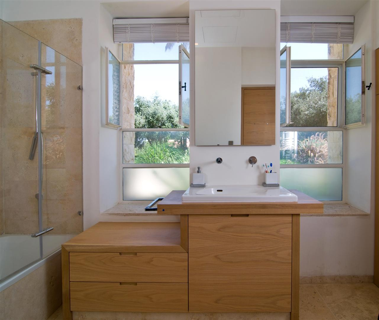 Bathroom, Contemporary Stone House in Jerusalem, Israel