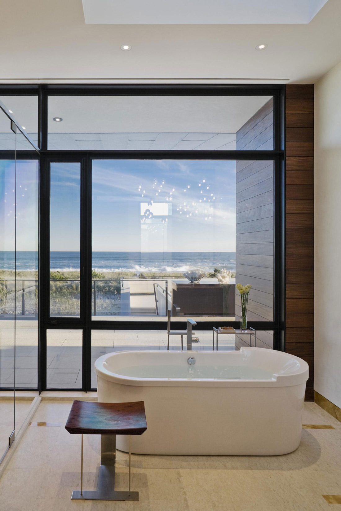 Bathroom, Tub, Floor-to-Ceiling Windows, Summer Retreat in Southampton, New York
