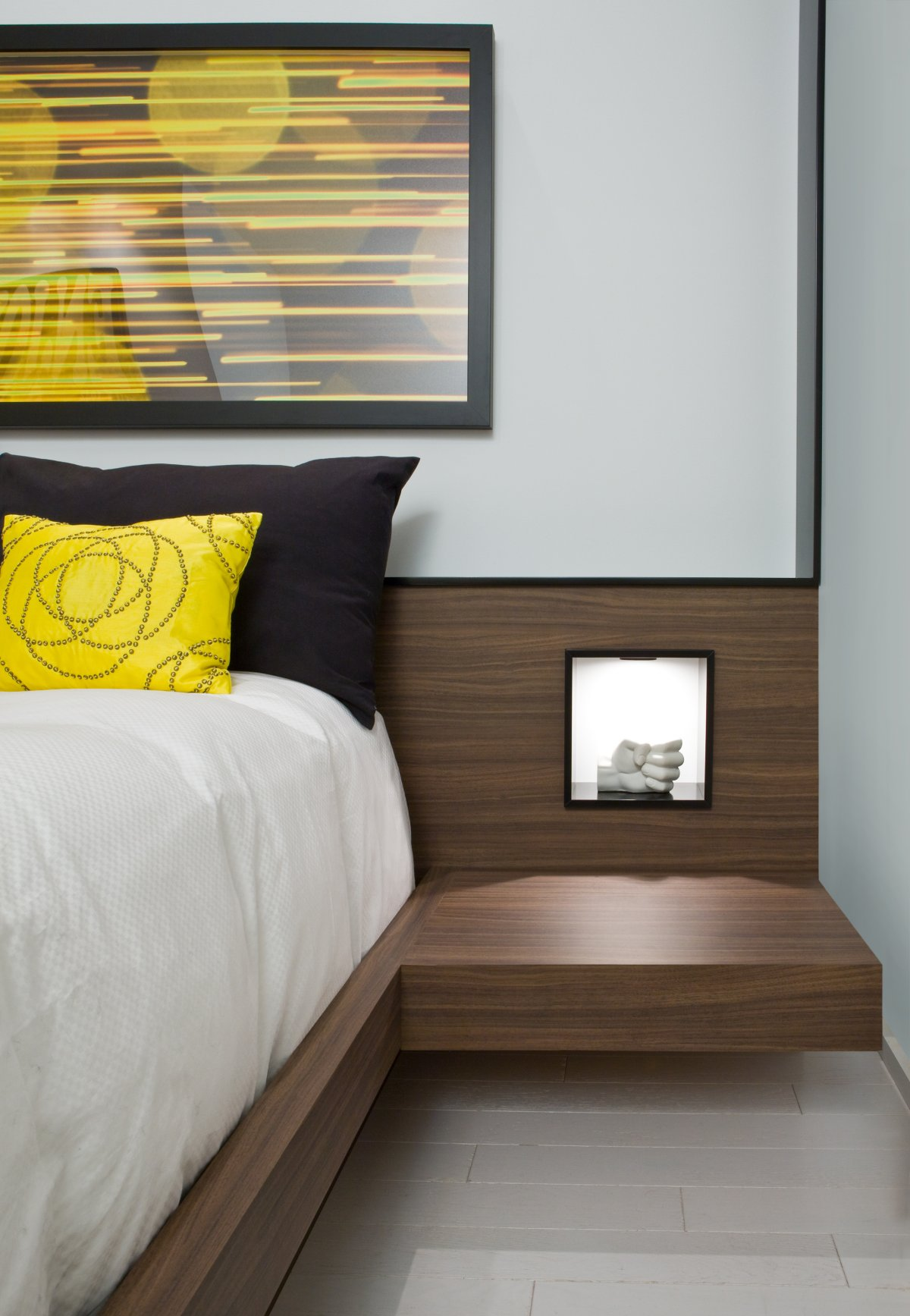 Bedroom, Art, Contemporary Townhome in Toronto, Canada
