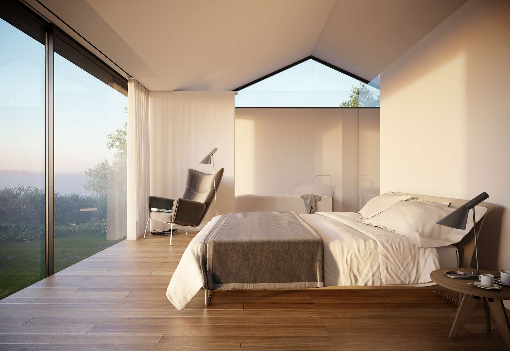 bedroom, floor-to-ceiling windows, home on the gower peninsula in