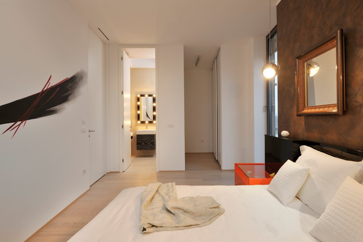 Bedroom, Mirror, Lighting, Apartment in Ljubljana, the Capital of Slovenia