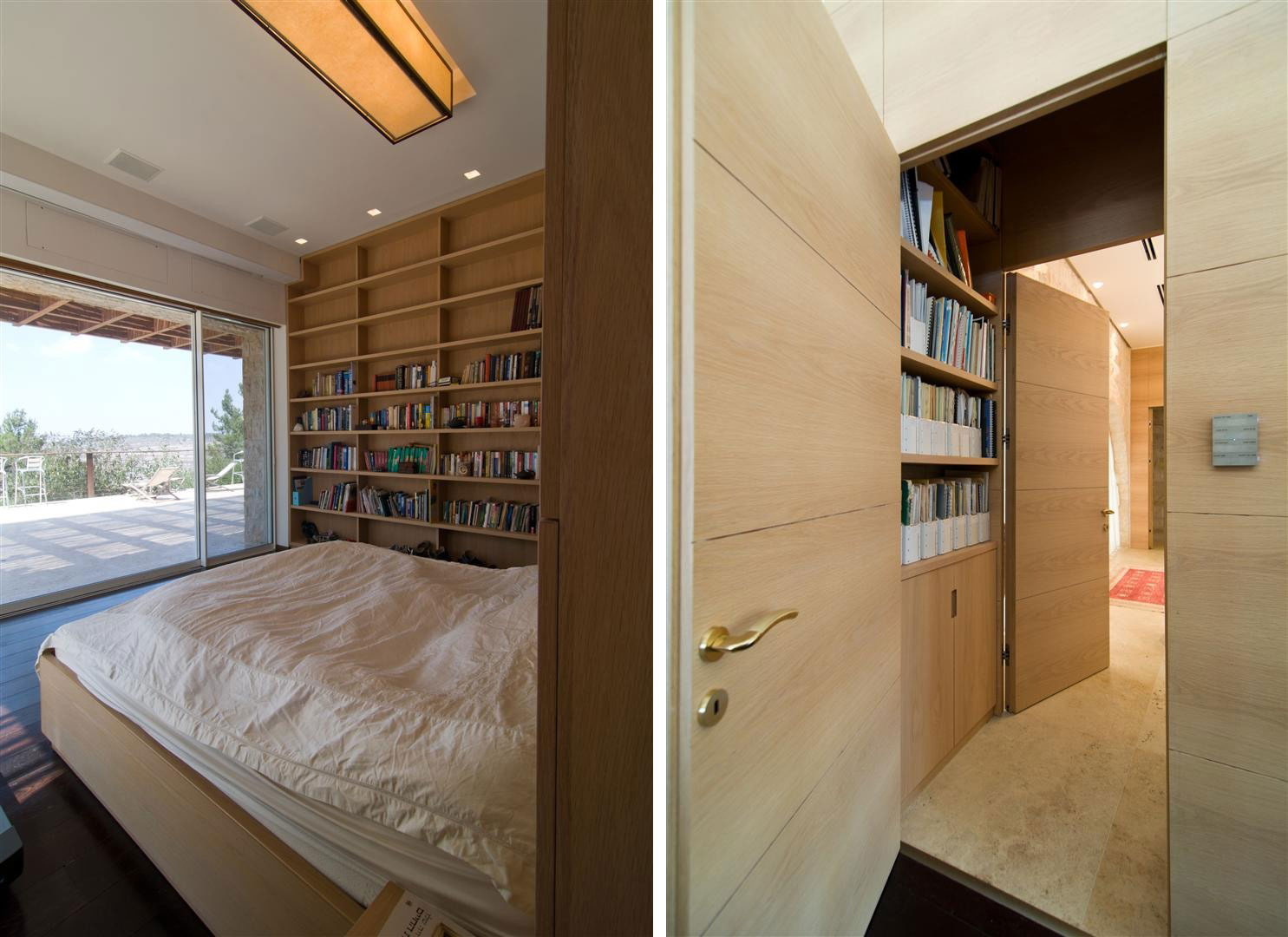 Bedroom, Patio Doors, Contemporary Stone House in Jerusalem, Israel