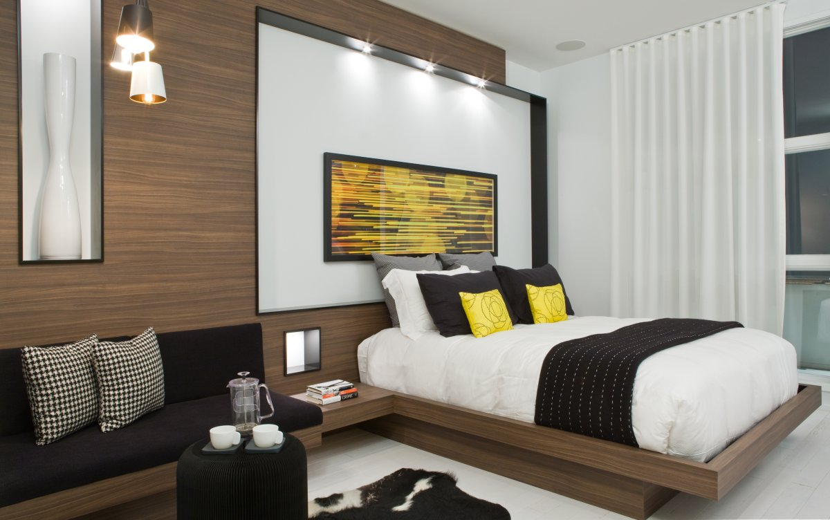 Bedroom, Pendant Lighting, Contemporary Townhome in Toronto, Canada