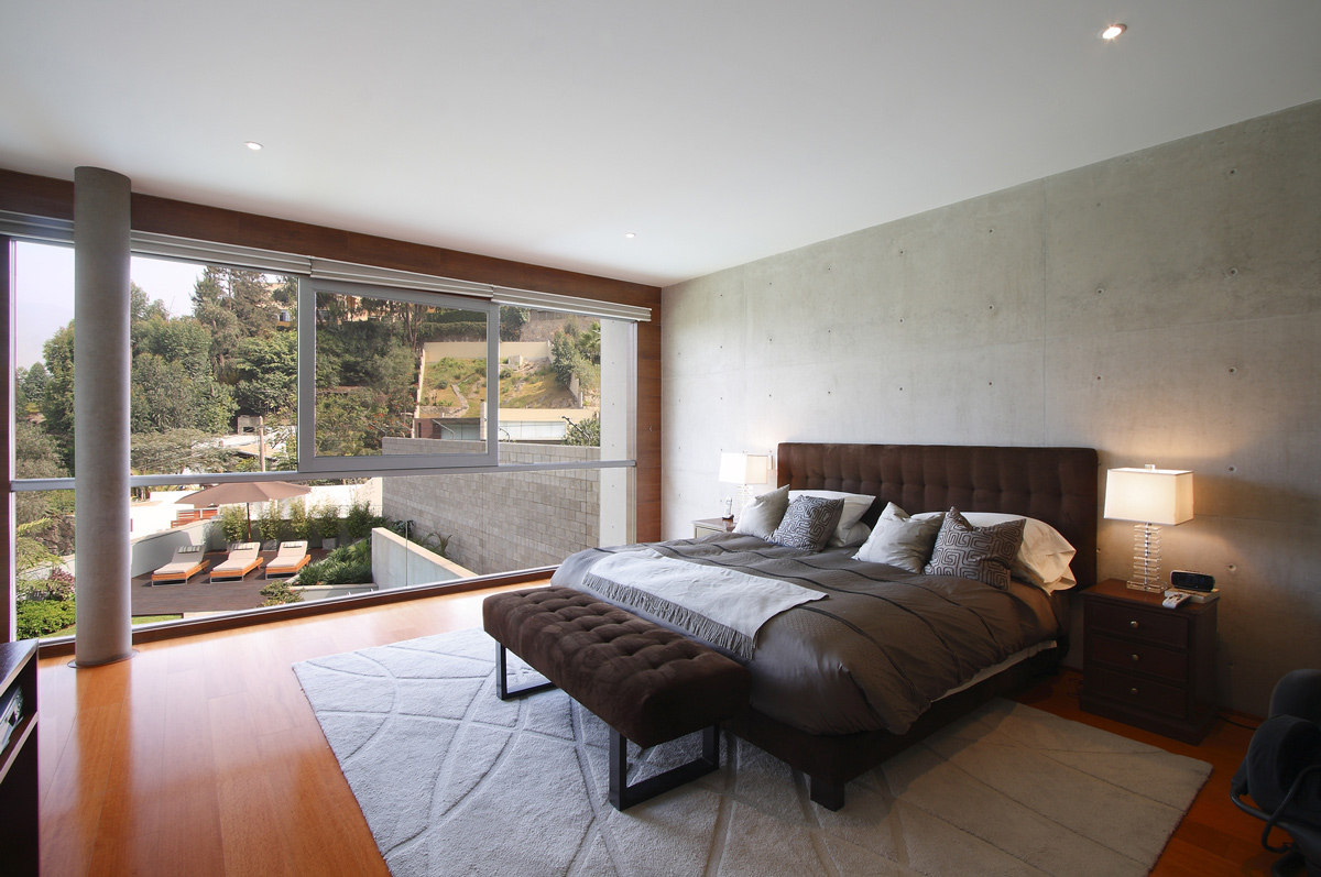 bedroom, rug, floor-to-ceiling windows, family home in lima, peru