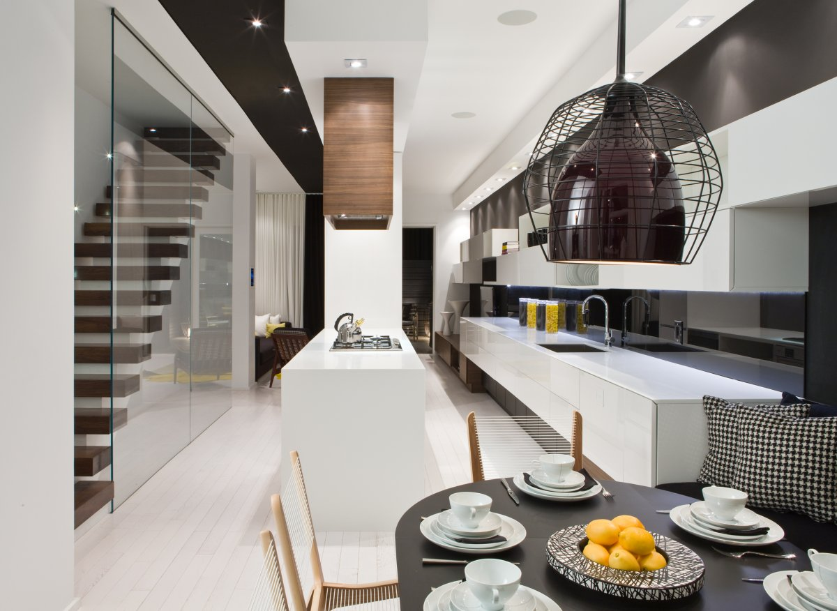 Black & White Kitchen, Dining Table, Stairs, Contemporary Townhome in Toronto, Canada