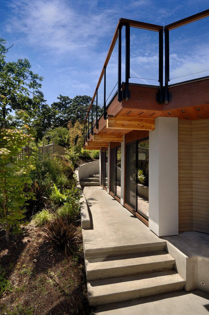 Balcony, Glass Sliding Doors, Modern Home in Victoria, British Columbia