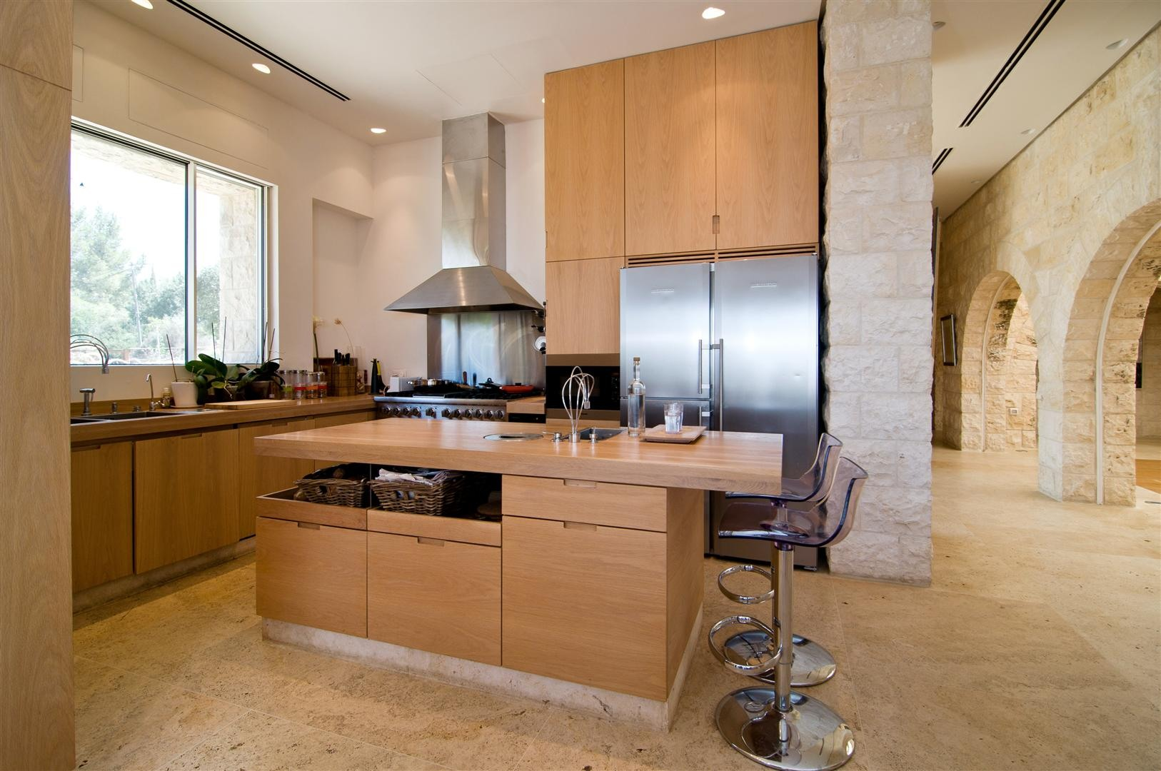 Breakfast Bar, Kitchen Island, Contemporary Stone House in Jerusalem, Israel