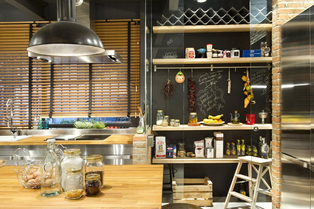 Chalkboard, Kitchen, Shelving, Loft Style Home in Terrassa, Spain