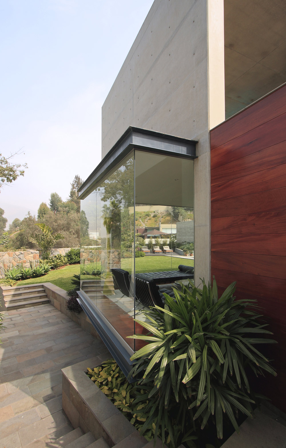 Concrete & Wood Walls, Large Windows, Family Home in Lima, Peru