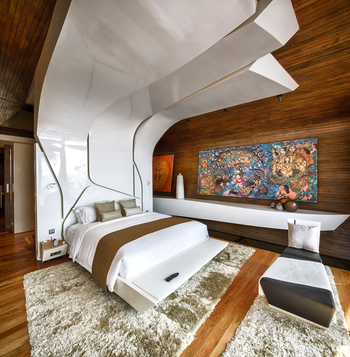 Contemporary Bedroom, Thick Rug, Art, Iniala Beach House in Phuket, Thailand