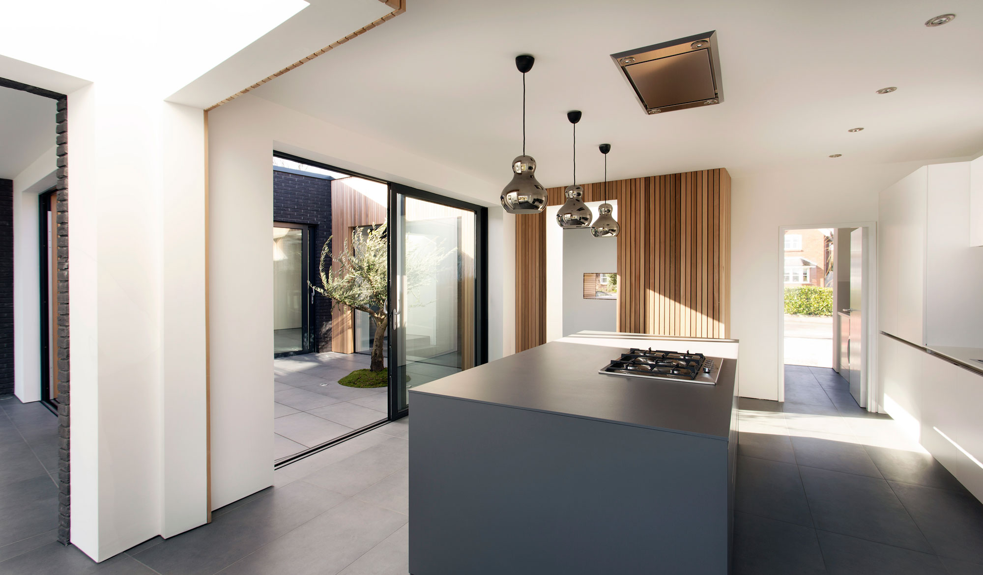 Internal Second Floor Courtyard, View from the Kitchen, Modern Home in Hampshire, England