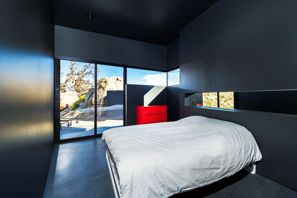 Dark Bedroom, Patio Doors, Mountain Home in Twentynine Palms, California