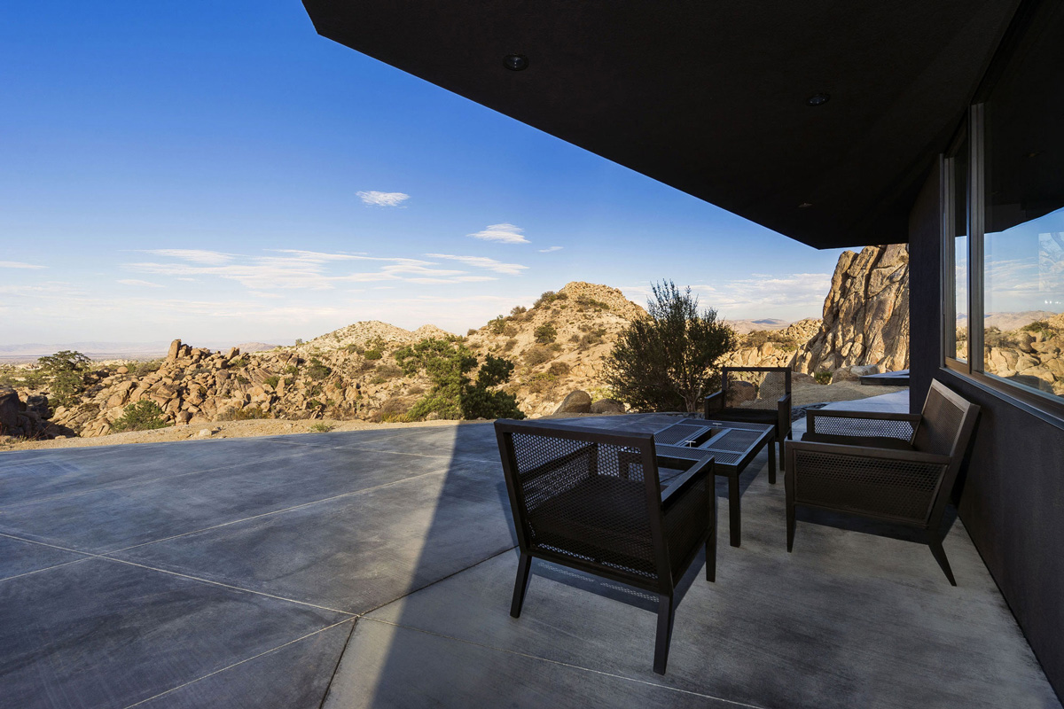 Dark Outdoor Furniture, Terrace, Mountain Home in Twentynine Palms, California
