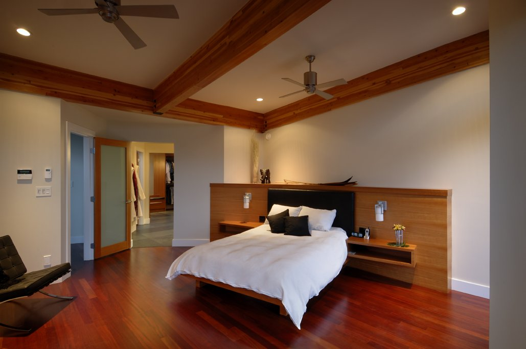 Dark Wood Floor, Bedroom, Modern Home in Victoria, British Columbia