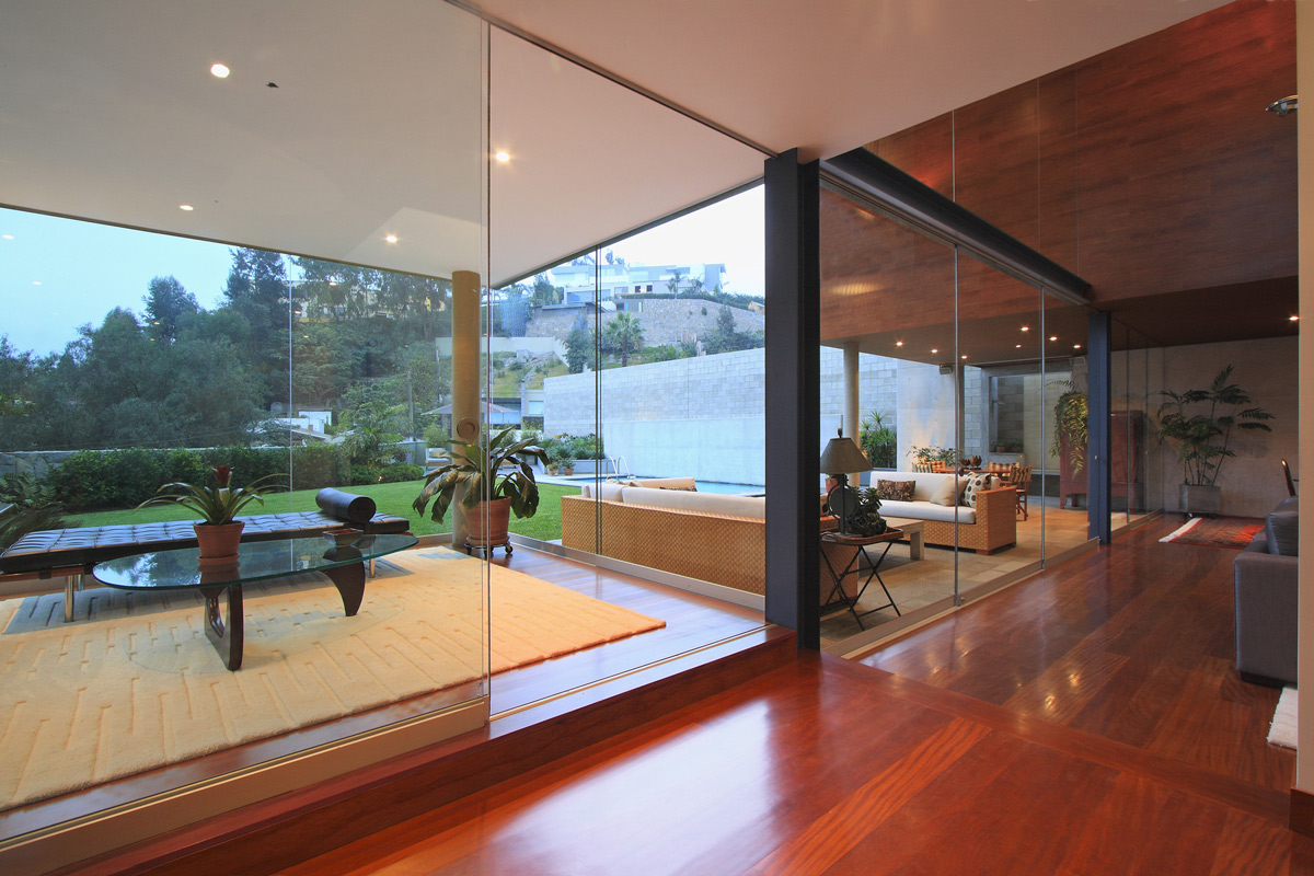 Dark Wood Flooring, Glass Sliding Doors, Family Home in Lima, Peru