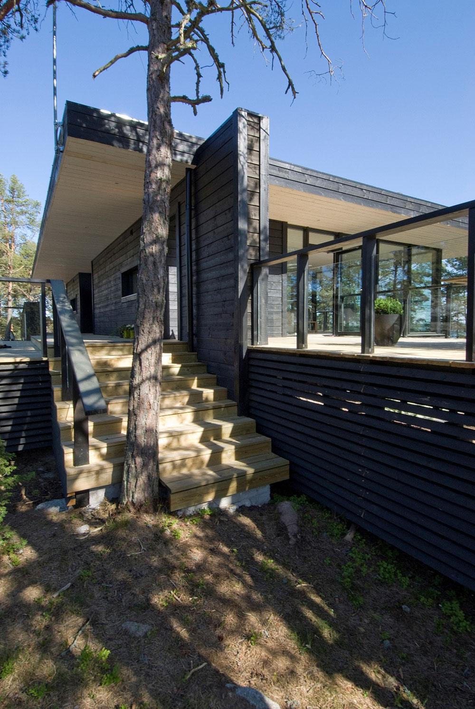 Deck, Stairs, Modern Vacation Home in Merimasku, Finland