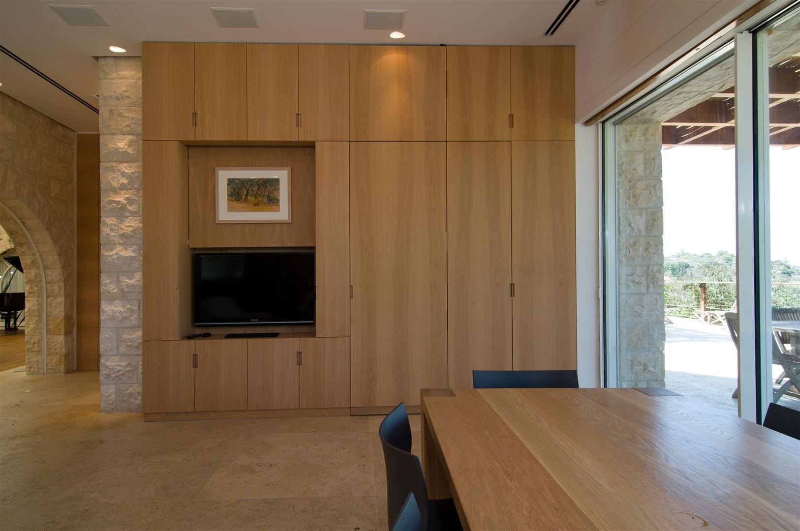 Dining Room, Contemporary Stone House in Jerusalem, Israel