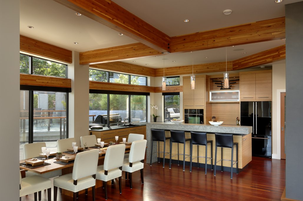 Dining table kitchen island modern home in victoria for Kitchen design victoria bc