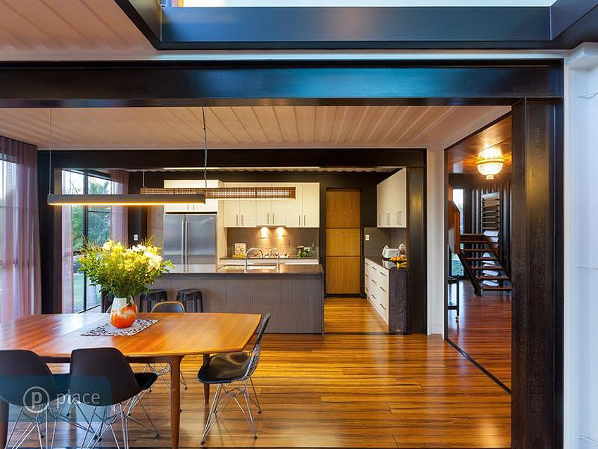 Dining Table, Kitchen, Shipping Container Home in Brisbane, Queensland