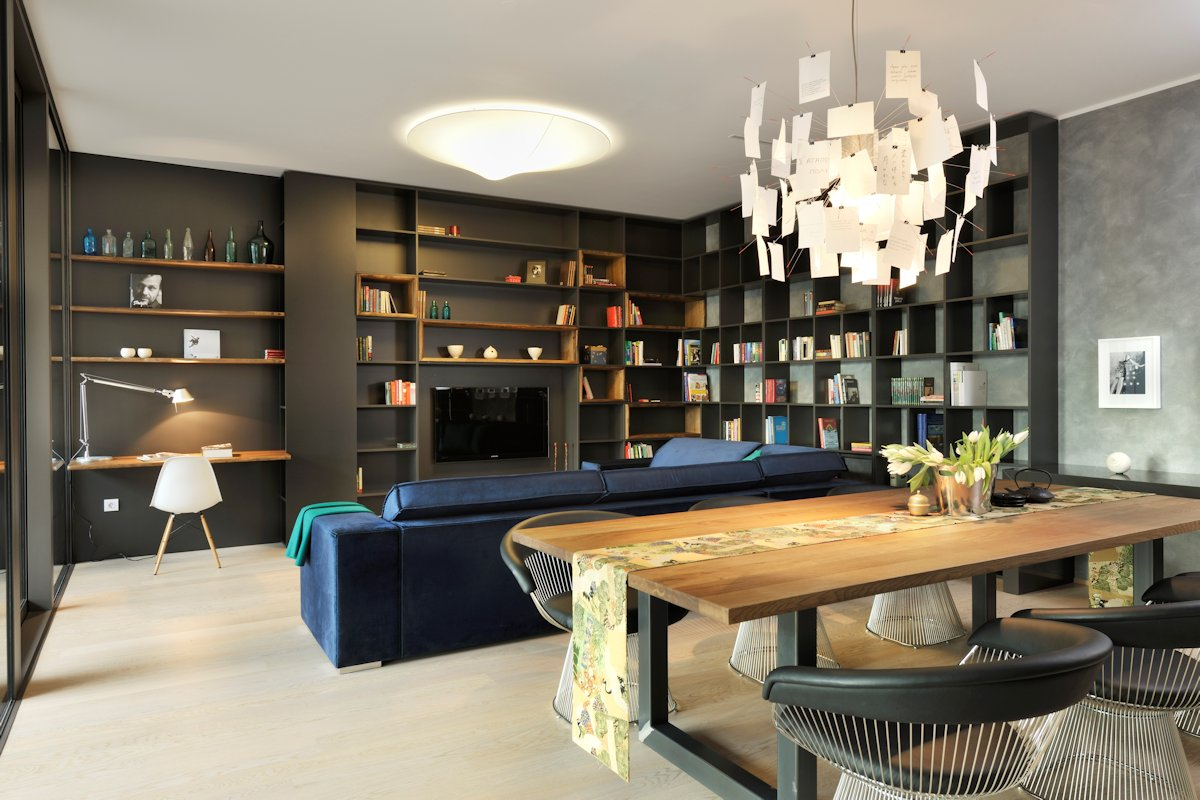 Dining Table, Lighting, Living Space, Apartment in Ljubljana, the Capital of Slovenia