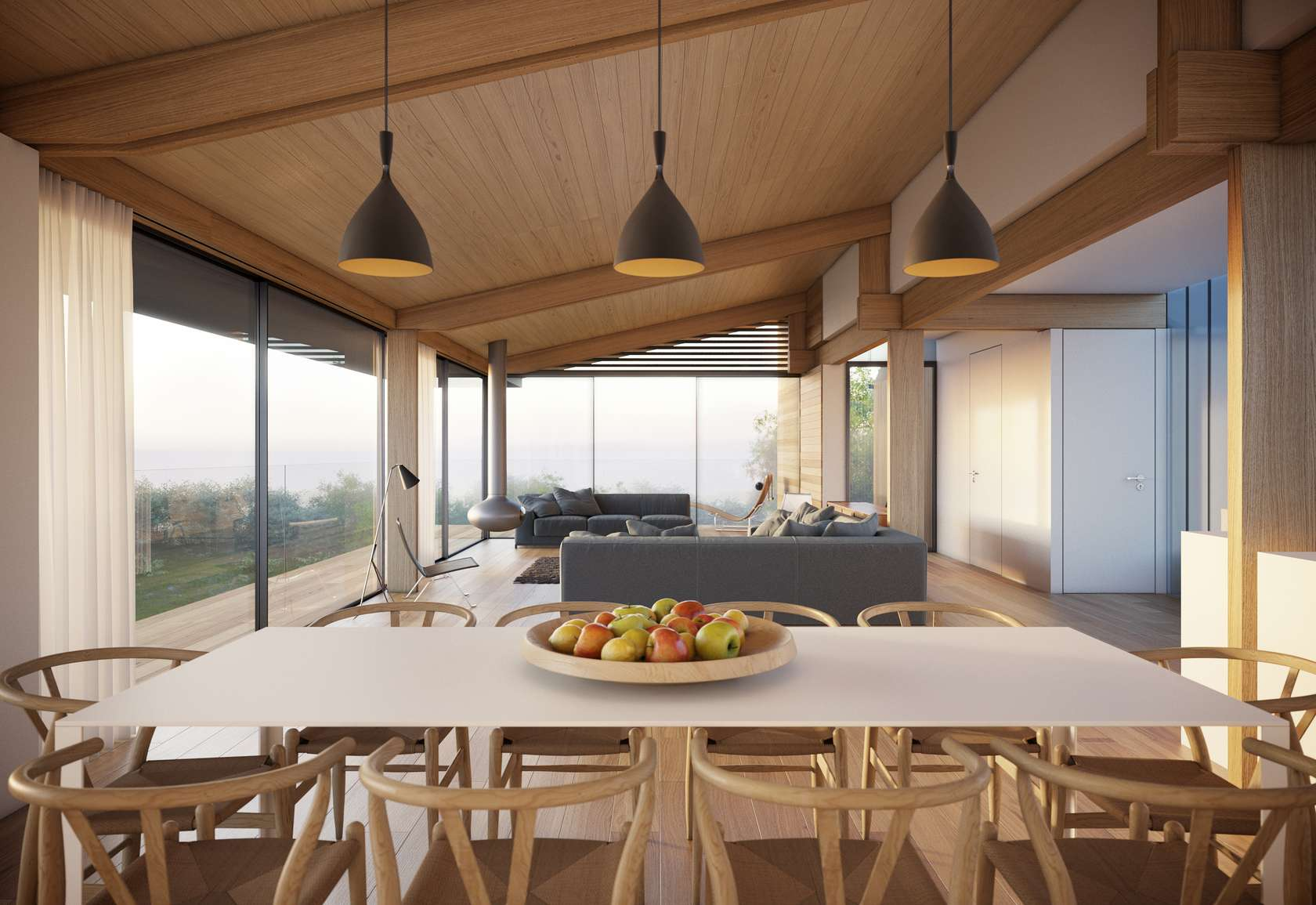 Dining Table, Pendant Lighting, Open Plan Living, Home on the Gower Peninsula in South Wales