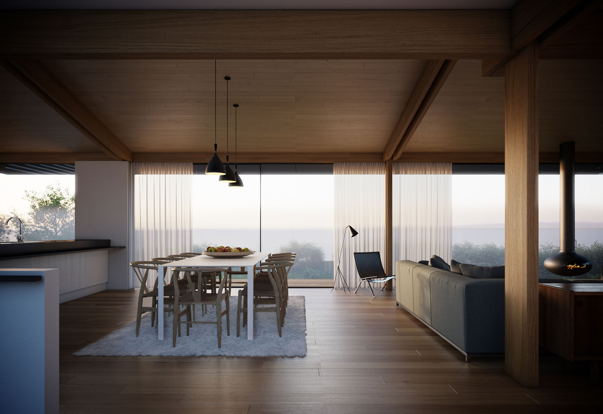 Dining Table, Rug, Floor-to-Ceiling Windows, Home on the Gower Peninsula in South Wales