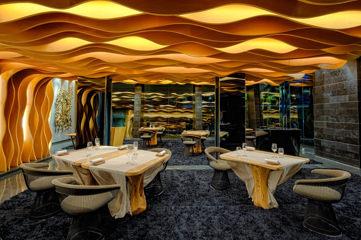 Dining Tables, Textured Ceiling, Restaurant, Iniala Beach House in Phuket, Thailand