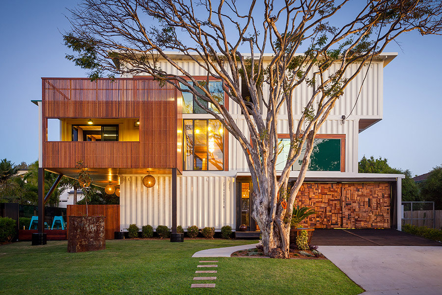 Drive, Garage, Front Lawn, Shipping Container Home in Brisbane, Queensland