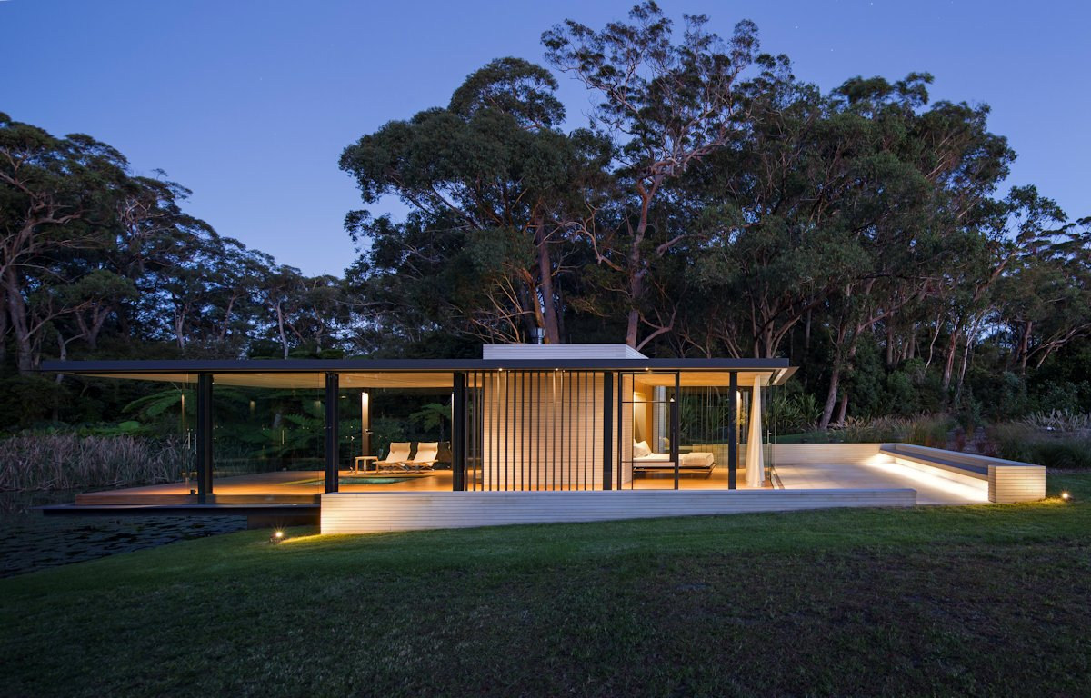 Dusk, Lighting, Terrace, Glass Pavilion in Somersby, Australia
