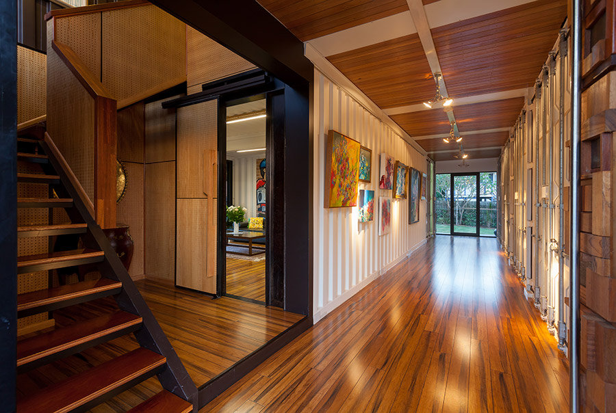 Entrance Hall, Stairs, Shipping Container Home in Brisbane, Queensland