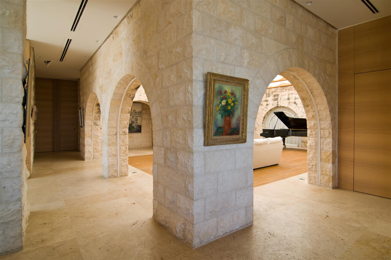 Entrance Hall, Stone Arches, Contemporary Stone House in Jerusalem, Israel