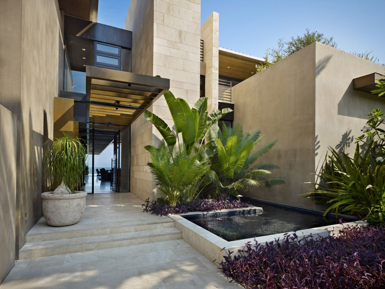 Water Feature Entrance Beachfront Home In Cabo San Lucas Mexico